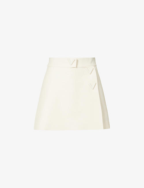VALENTINO: Belted wool-and silk-blend shorts