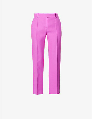 VALENTINO: Straight-leg high-rise wool and silk-blend trousers