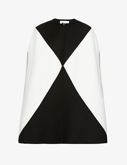 VALENTINO: Contrasting panel wool and cashmere-blend cape