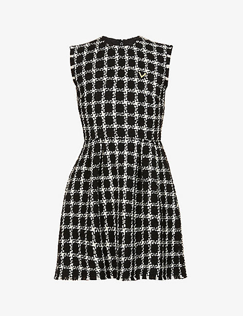 VALENTINO: Tweed sleeveless wool-blend mini dress