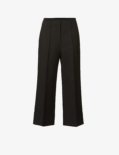 VALENTINO: Cropped high-rise wool and silk-blend trousers