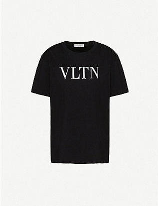 VALENTINO: Logo-print bead-embellished cotton-jersey T-shirt