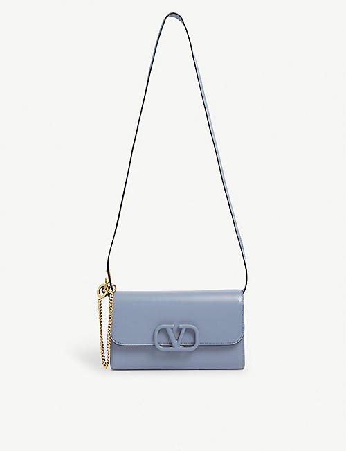 VALENTINO: V-sling branded leather cross-body bag
