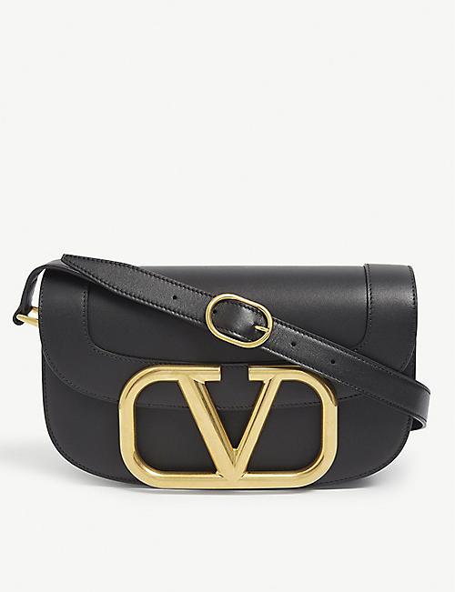 VALENTINO: Supervee branded leather satchel