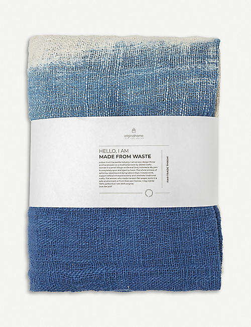 ORIGINAL HOME: Gradient tassel-trimmed recycled cotton throw 200cm x 130cm