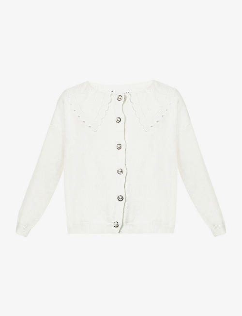 OLIVIA RUBIN: Courtney lace-trim knitted cardigan