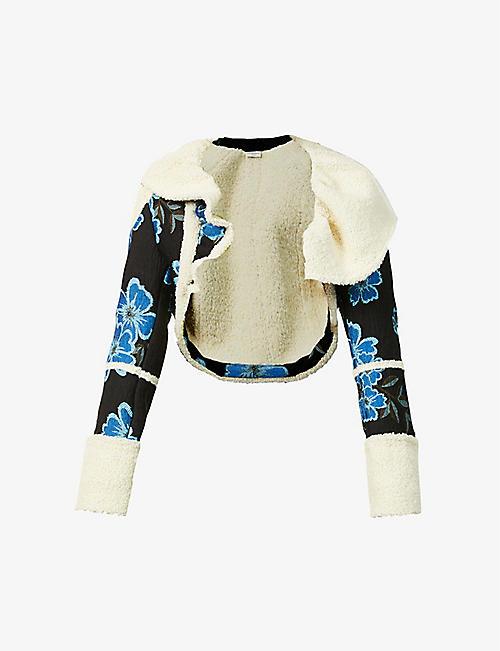DRIES VAN NOTEN: Floral-print wool-blend jacket