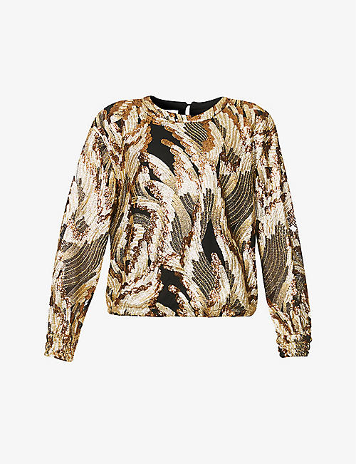 DRIES VAN NOTEN: Sequin-embellished mesh top