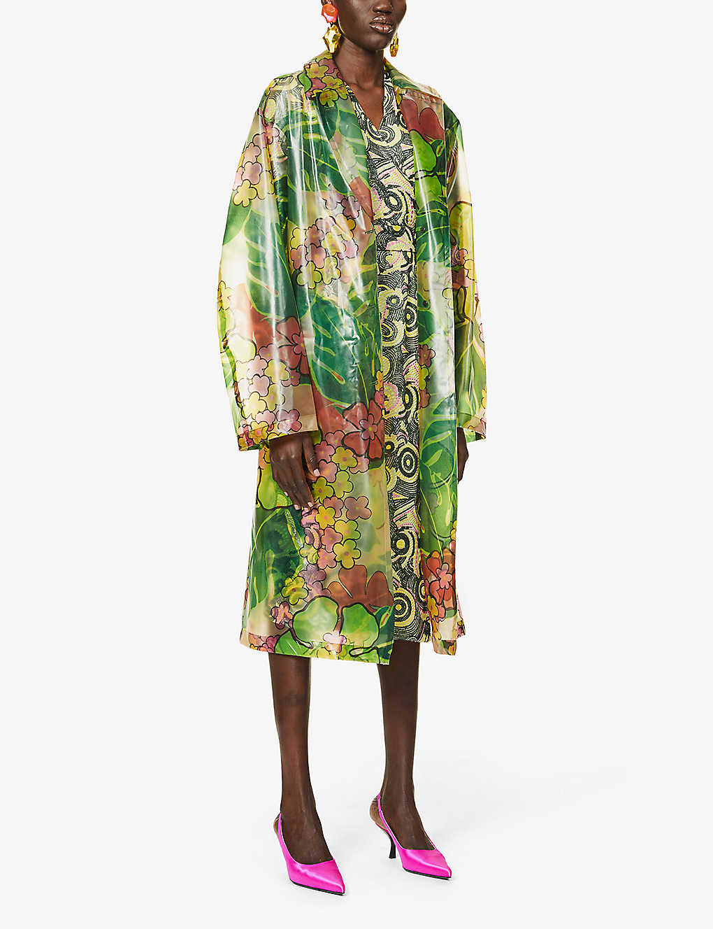 DRIES VAN NOTEN: Floral-print belted shell coat