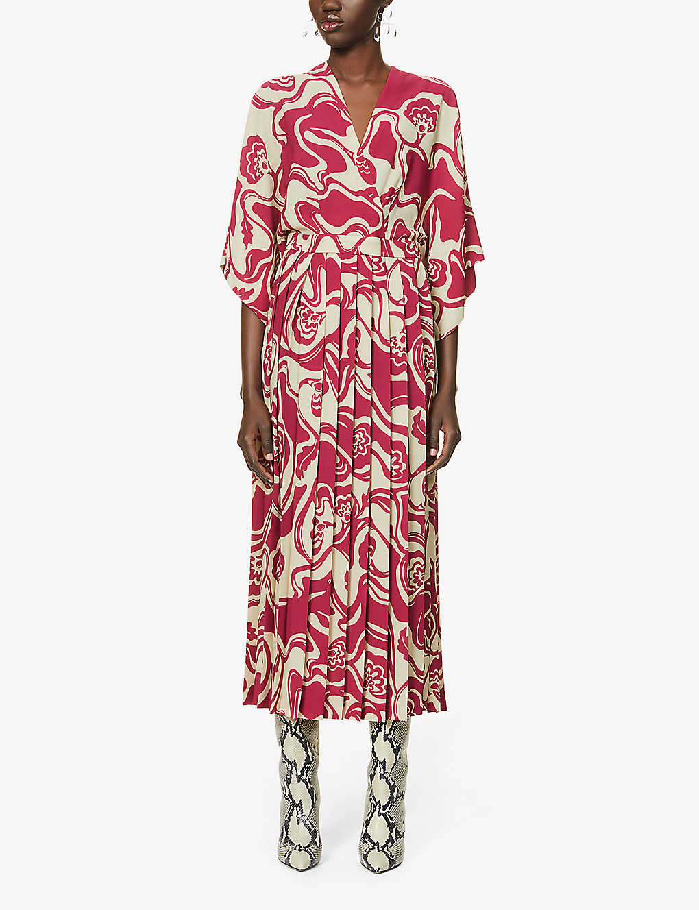 DRIES VAN NOTEN: Floral-print stretch-crepe midi dress
