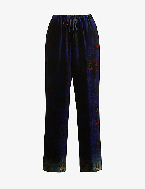 DRIES VAN NOTEN: Floral-print wide-leg high-rise velvet trousers