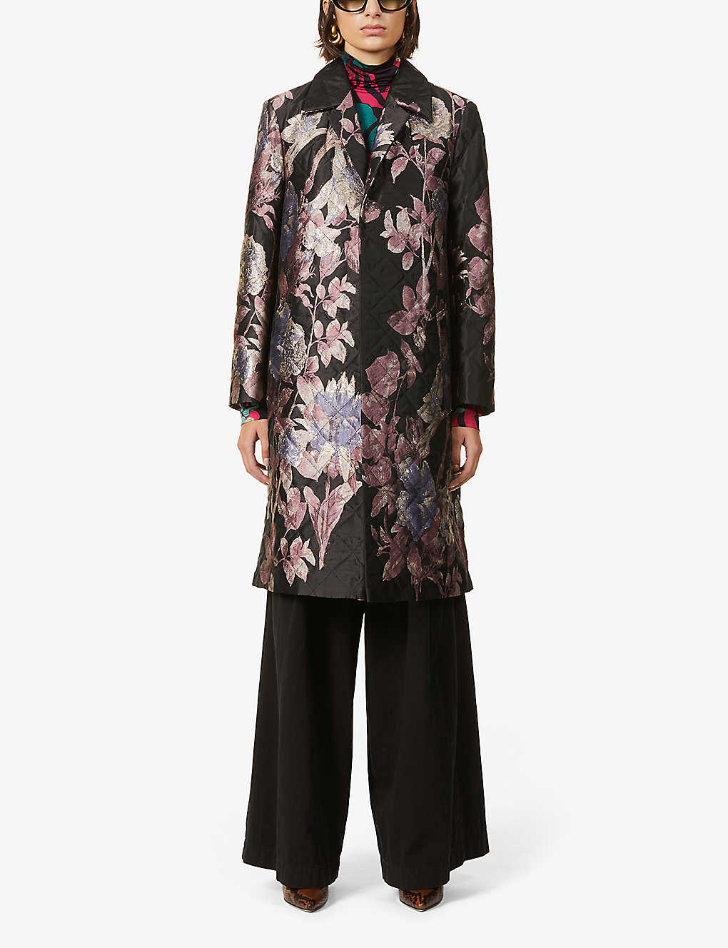 DRIES VAN NOTEN: Floral-pattern woven coat
