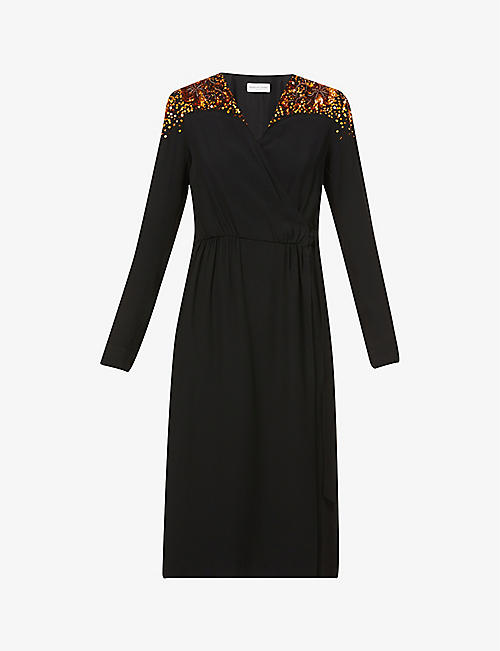 DRIES VAN NOTEN: Embellished-shoulder crepe midi wrap dress