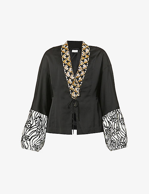 DRIES VAN NOTEN: Sequin-embellished woven jacket