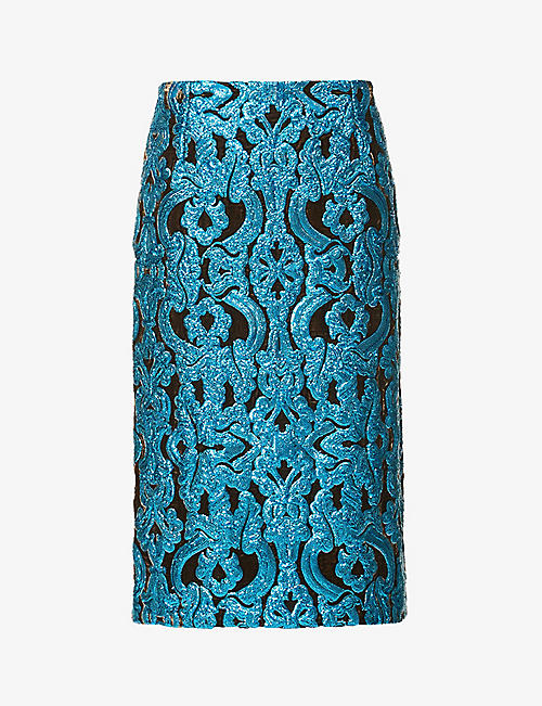 DRIES VAN NOTEN: Sequin-embellished geometric-print high-waisted velvet midi skirt