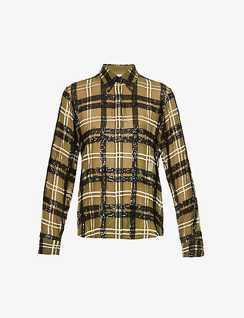 DRIES VAN NOTEN: Tartan-print embellished shirt