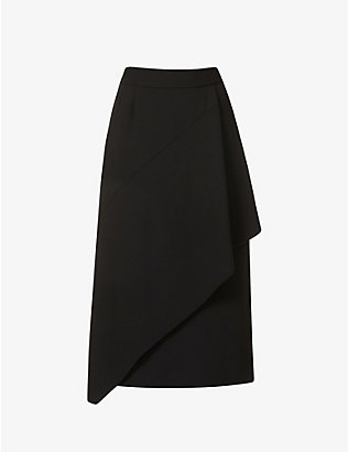 DRIES VAN NOTEN: High-waisted crepe midi skirt