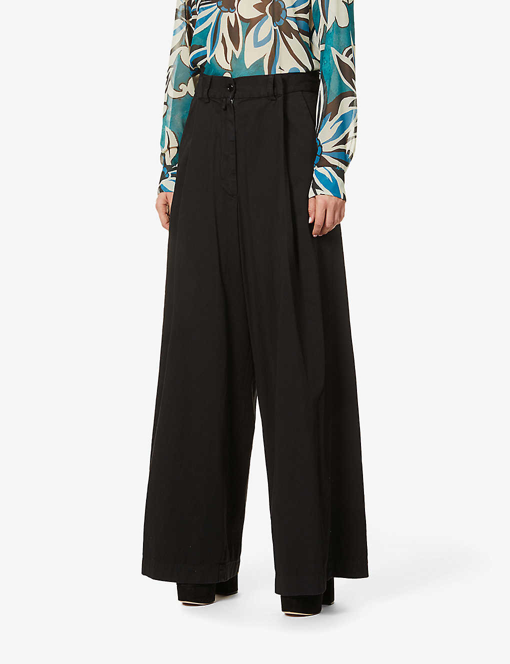 DRIES VAN NOTEN: Wide-leg high-rise cotton-twill trousers