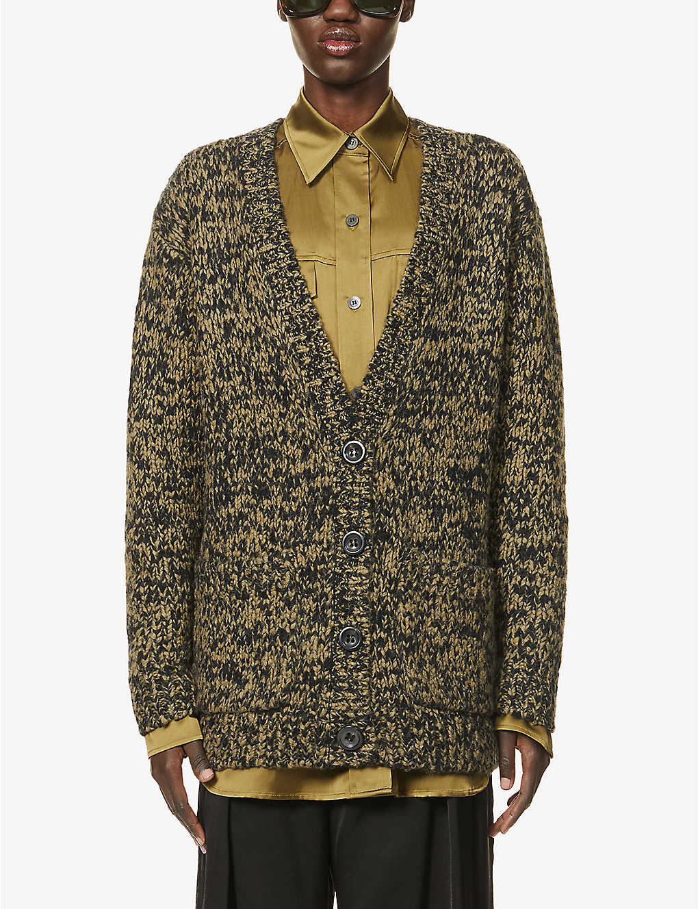 DRIES VAN NOTEN: Oversized chunky-knit wool-blend cardigan