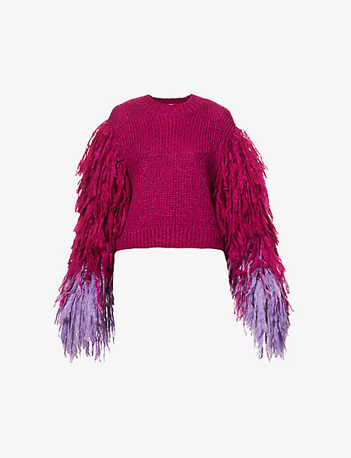 DRIES VAN NOTEN: Fringe-sleeves mohair-blend jumper