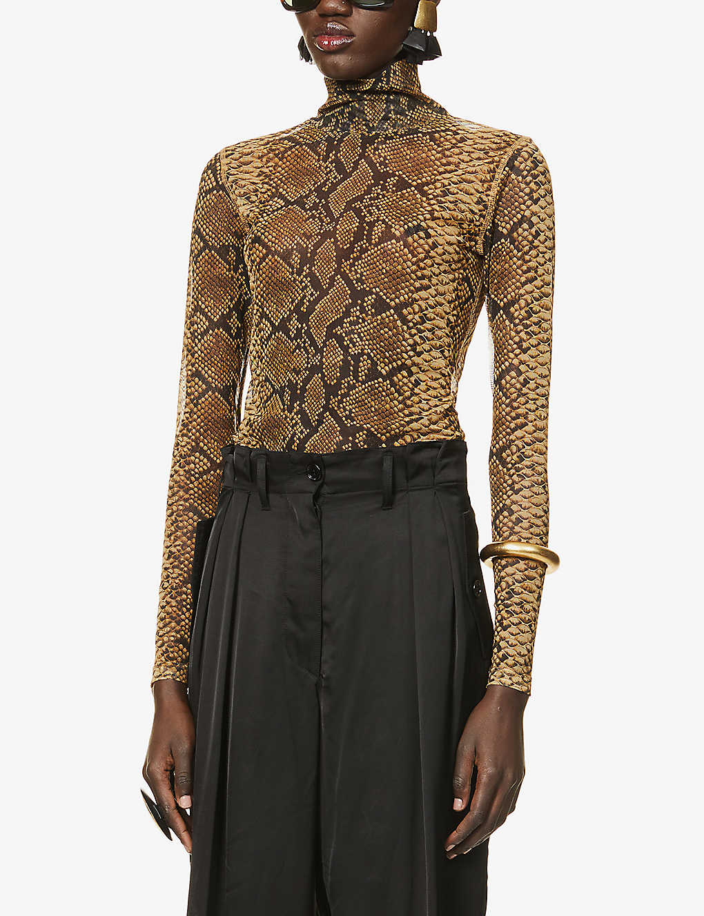 DRIES VAN NOTEN: Snakeskin-print semi-sheer stretch-mesh top
