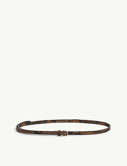 DRIES VAN NOTEN: Snakeskin-embossed leather belt