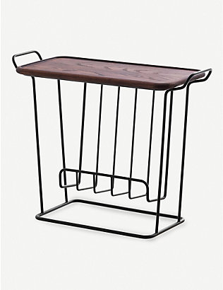 MAZE: Minne Mae wire and ash wood side table 62cm x 49cm