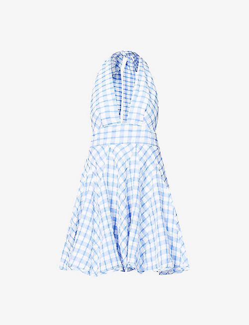FREE PEOPLE: Do The Twist checked woven mini dress