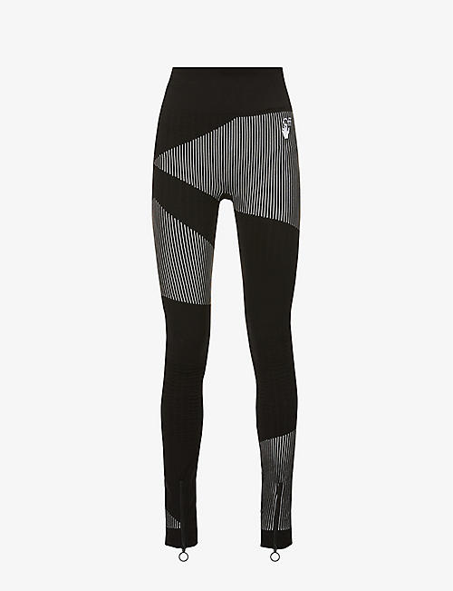 OFF-WHITE C/O VIRGIL ABLOH: Athleisure Seamless branded high-rise stretch-knit leggings