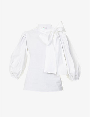 RED VALENTINO: Puff-sleeved tie-collar cotton-blend shirt
