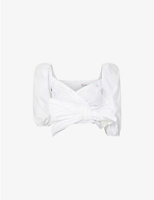 RED VALENTINO: Puff-sleeved wrap-over cotton-blend poplin shirt