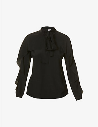 RED VALENTINO: Frilled-trim tie-collar silk top