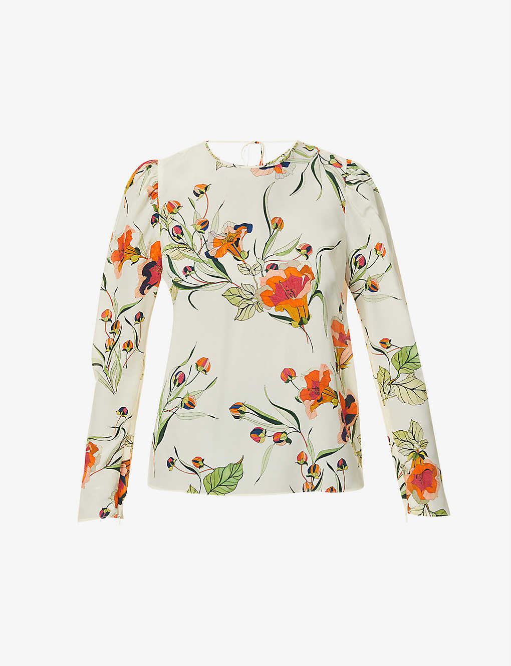 RED VALENTINO: Floral-print puff-sleeved silk top