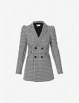 RED VALENTINO: Vichy gingham double-breasted woven jacket