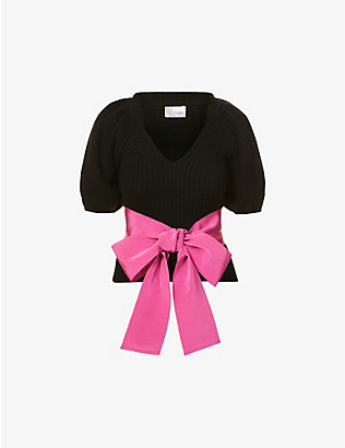 RED VALENTINO: Puff-sleeved bow-embellished knitted jumper