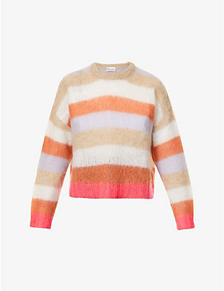RED VALENTINO: Striped dropped-shoulder knitted jumper