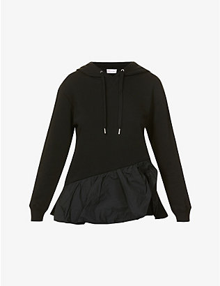RED VALENTINO: Frilled-trim cotton-blend jersey and shell hoody