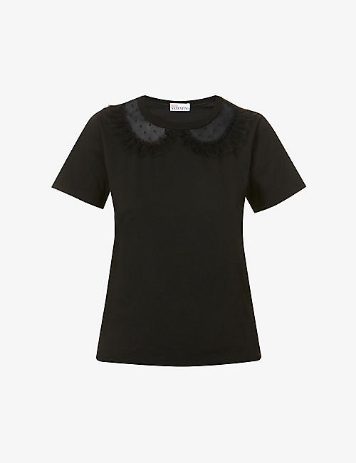 RED VALENTINO: Lace-trim round-neck cotton-jersey T-shirt