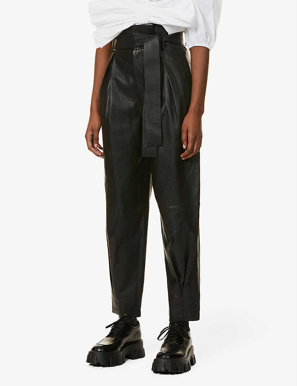 RED VALENTINO: High-rise tapered leather trousers