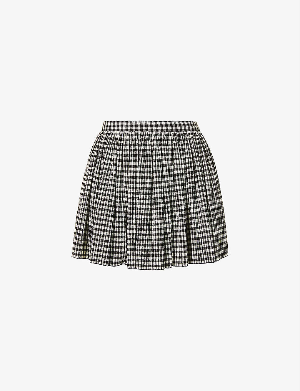 RED VALENTINO: Gingham high-rise stretch-woven skort