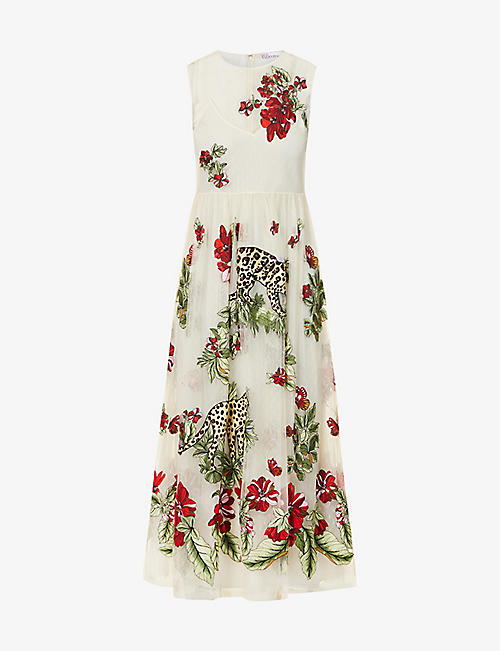 RED VALENTINO: Felines in a Flower Jungle embroidered tulle midi dress