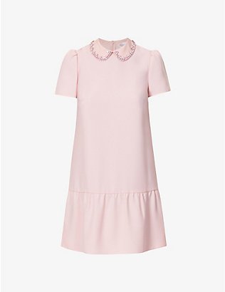 RED VALENTINO: Embellished crepe mini dress