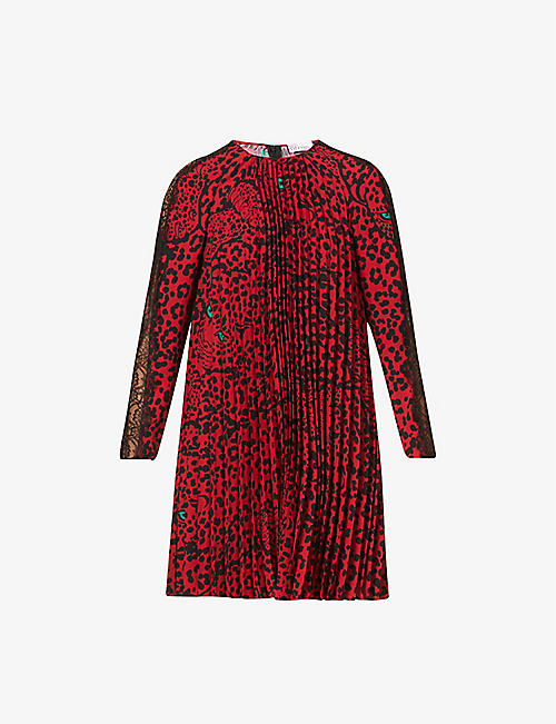 RED VALENTINO: Panther print crepe mini dress