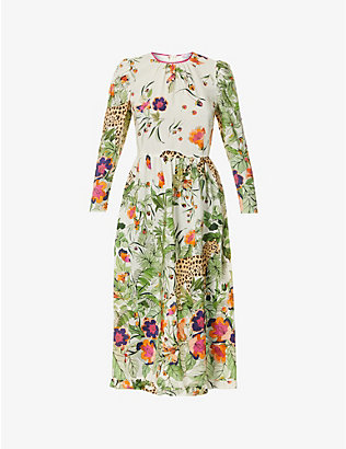 RED VALENTINO: Safari-print silk midi dress