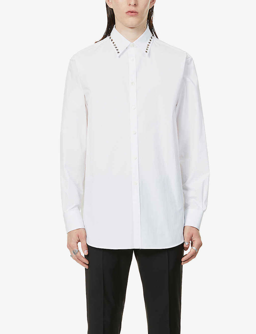 VALENTINO: Studded-collar cotton-poplin shirt