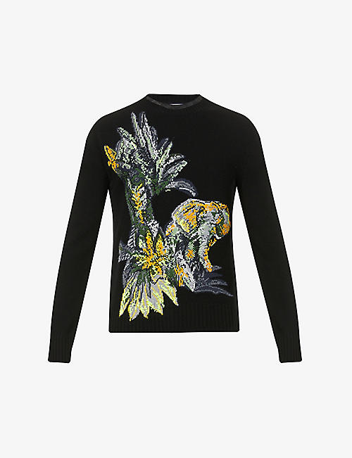 VALENTINO: Jungle knitted wool and cashmere-blend jumper