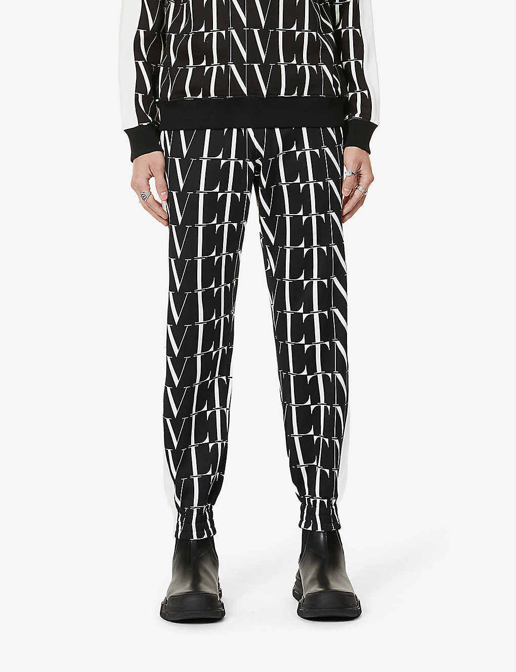 VALENTINO: Brand-pattern tapered jersey jogging bottoms