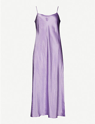 VINCE: Sleeveless satin slip midi dress
