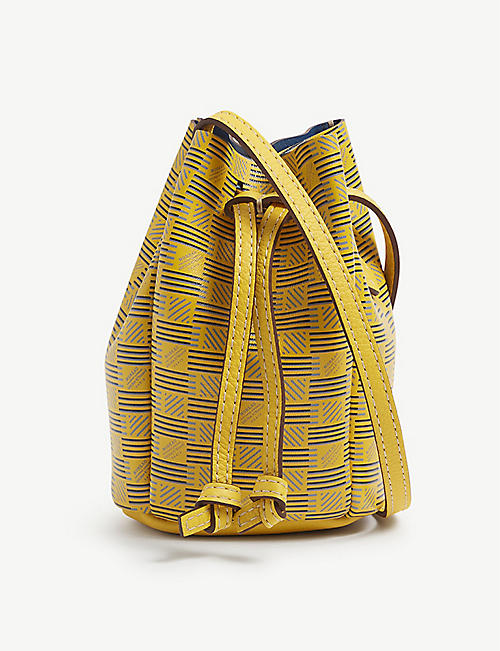 MOREAU PARIS: Logo-print mini leather bucket bag