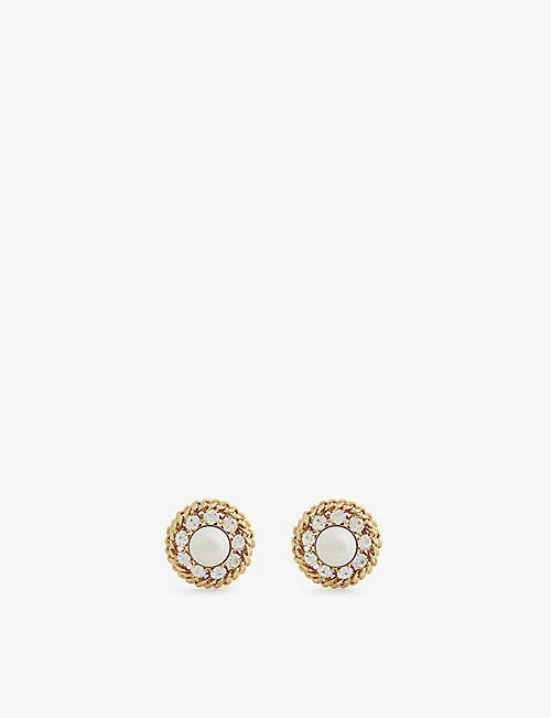ALESSANDRA RICH: Pearl, crystal and gold-toned brass clip-on earrings